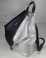 """297 Натуральная кожа, Городской рюкзак - секьюрити, комбинированный черный серебро, с карабином """"безопасность"""""""