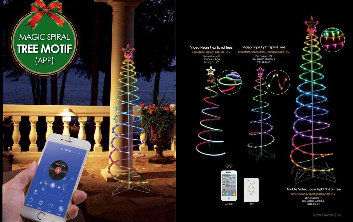 Светодиодное украшение Дерево-спираль Lumion Magic Spiral 1,2 м наружный цвет RGB