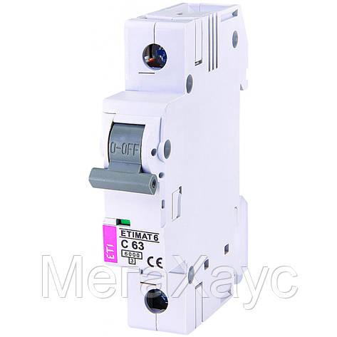 Автоматический  выключатель ETIMAT 6 1p С 63А (6 kA), фото 2