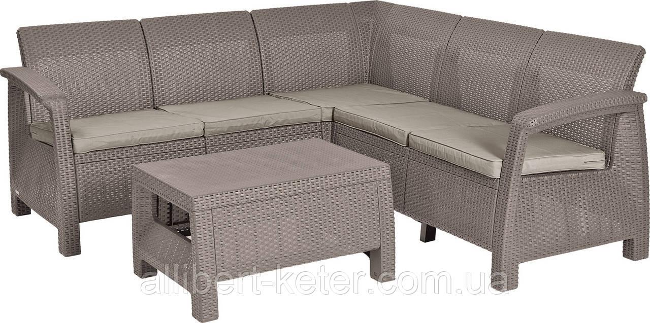 Угловий диван зі штучного ротангу CORFU RELAX SET капучіно (Allibert)