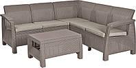 Угловий диван зі штучного ротангу CORFU RELAX SET капучіно (Allibert), фото 1