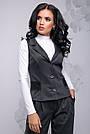 Стильный женский брючный костюм-двойка с кружевом, размеры от 42 до 48, серый, фото 3