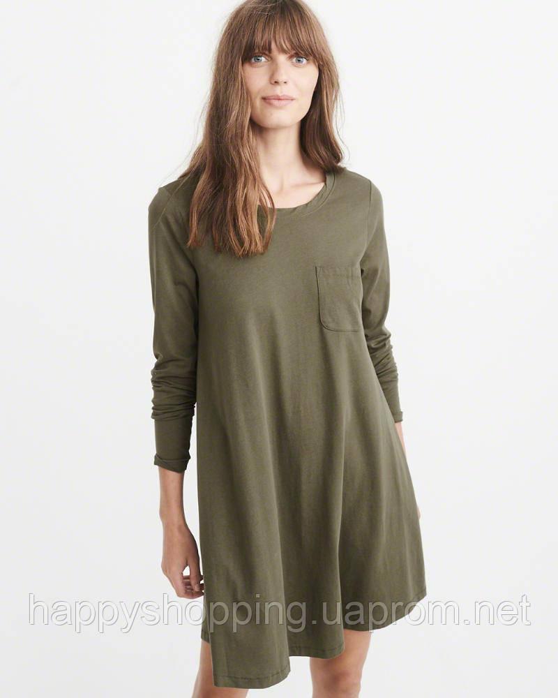 Женское хлопковое оливковое мини платье Abercrombie & Fitch