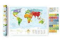 """Скретч Travel Map Скретч карта світу """"Travel Map Kids Sights"""" (тубус), фото 1"""