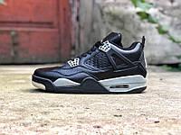 Кроссовки мужские в стиле Nike Air Jordan Retro 4 код товара Z-1551. Черные ff58b896be9