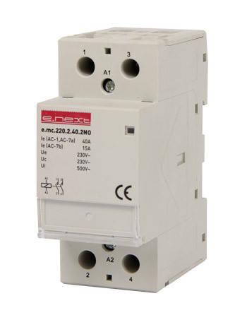 Модульный контактор e.mc.220.2.40.2NO, 2р, 40А, 2NO, 220В, фото 2