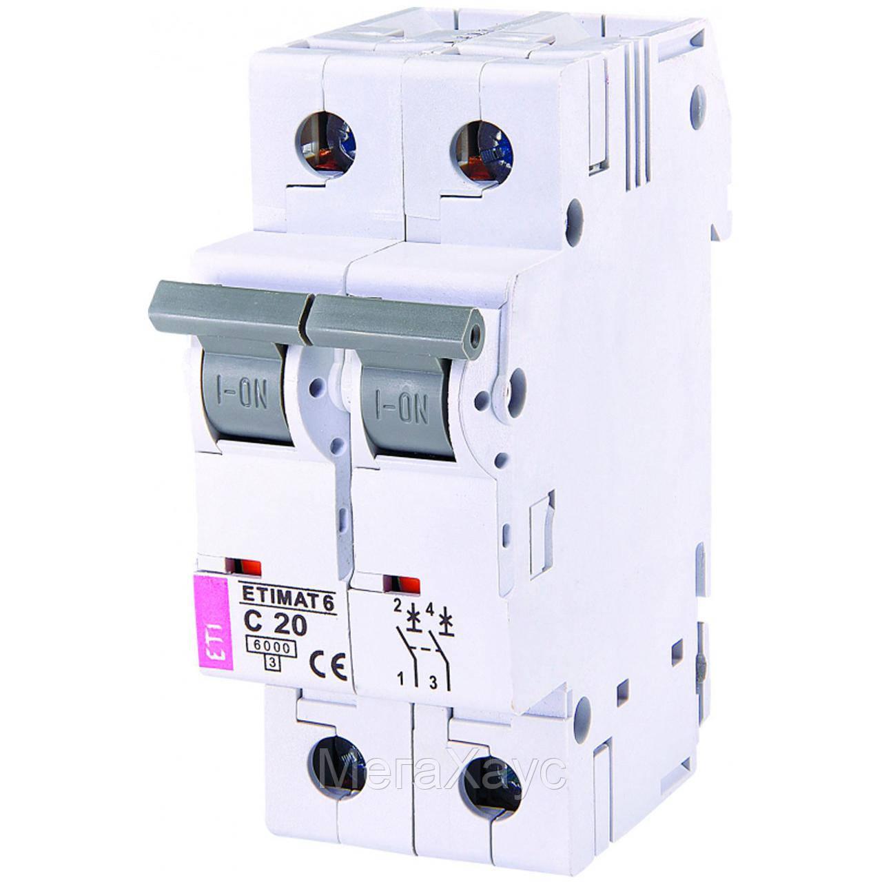 Автоматический выключатель ETIMAT 6  2p С 20А (6 kA)