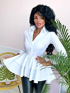 Женская удлиненная сзади блузка-рубашка на пуговицах
