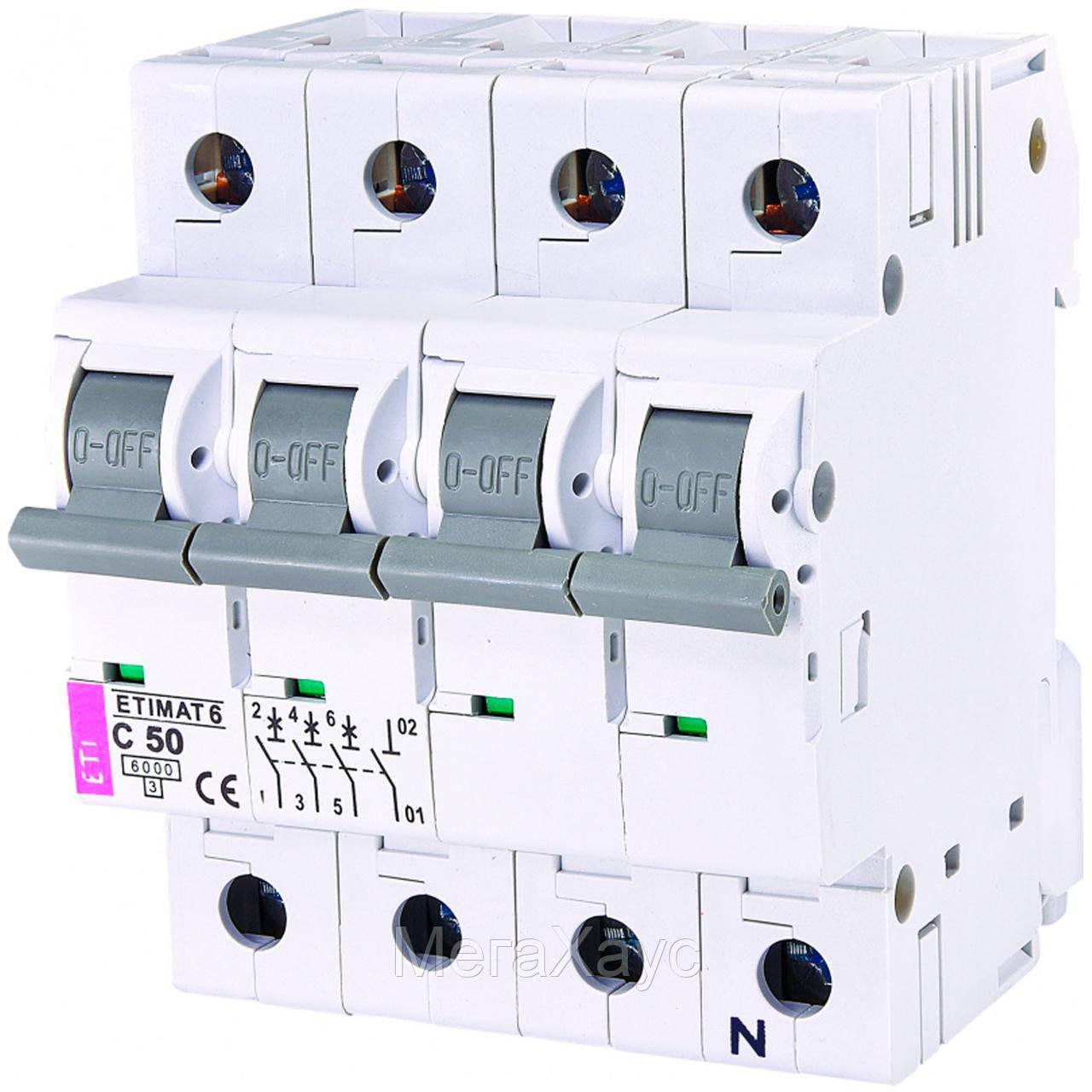 Автоматический выключатель ETIMAT 6  3p+N C 50А (6 kA)