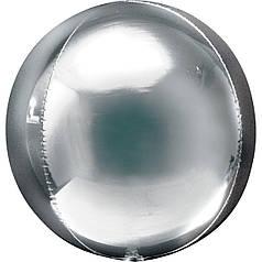 "Фол шар 16"" металлик Silver серебряный сфера 40см (Анаграм)"
