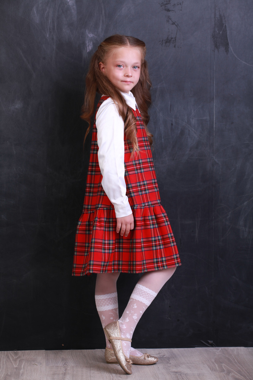 Платье детское теплое «Клетка красная». Школьная форма