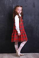 Платье детское теплое «Клетка красная». Школьная форма, фото 1