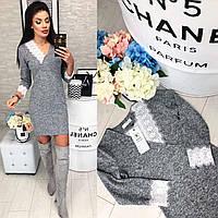 Платье с кружевом арт. 126 серый меланж