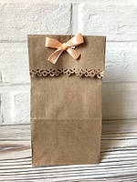 Пакет крафт подарочный резной без ручек 20*9*6,5см