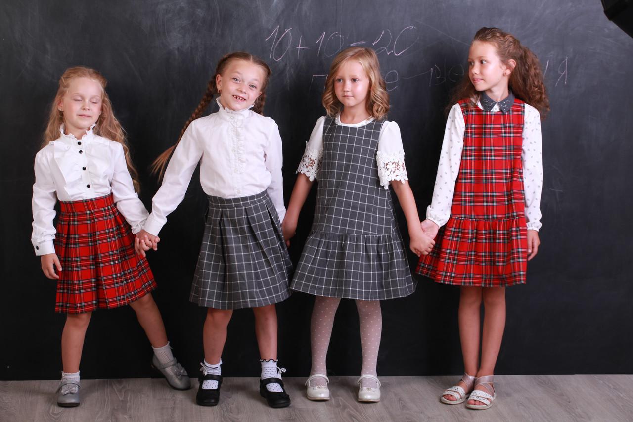 Платье детское теплое  «Клетка серая» .Школьная форма