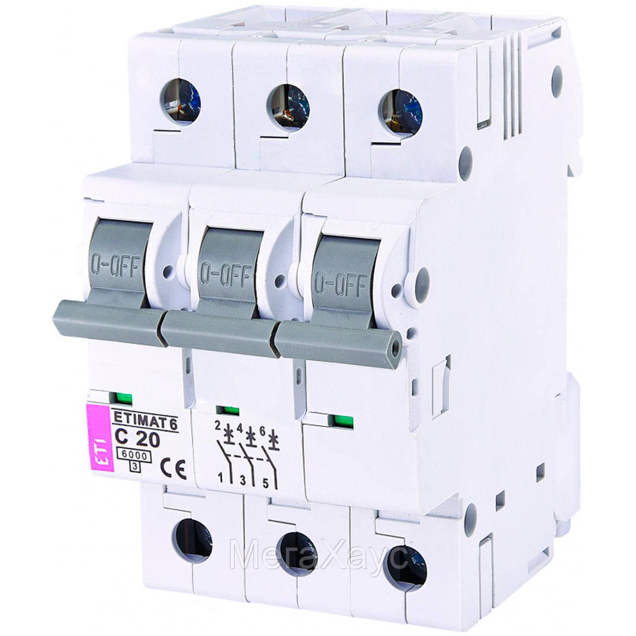 Автоматический выключатель ETIMAT 6  3p C 20А (6 kA)