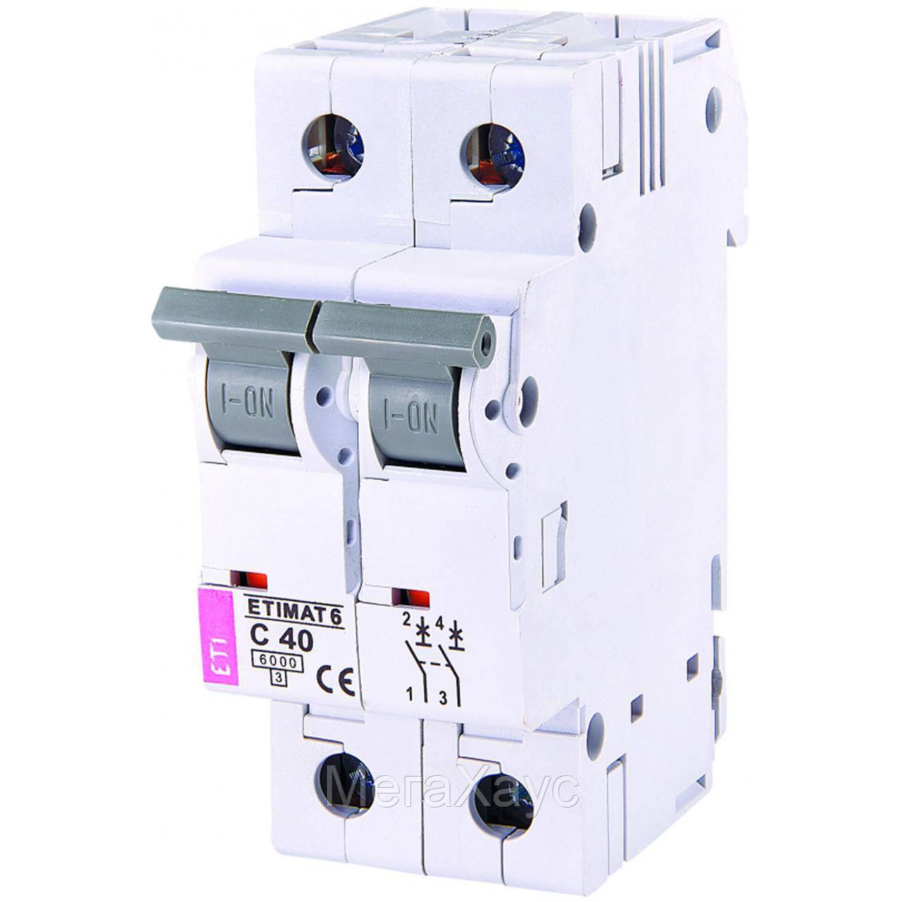 Автоматический  выключатель ETIMAT 6  2p С 40А (6 kA)