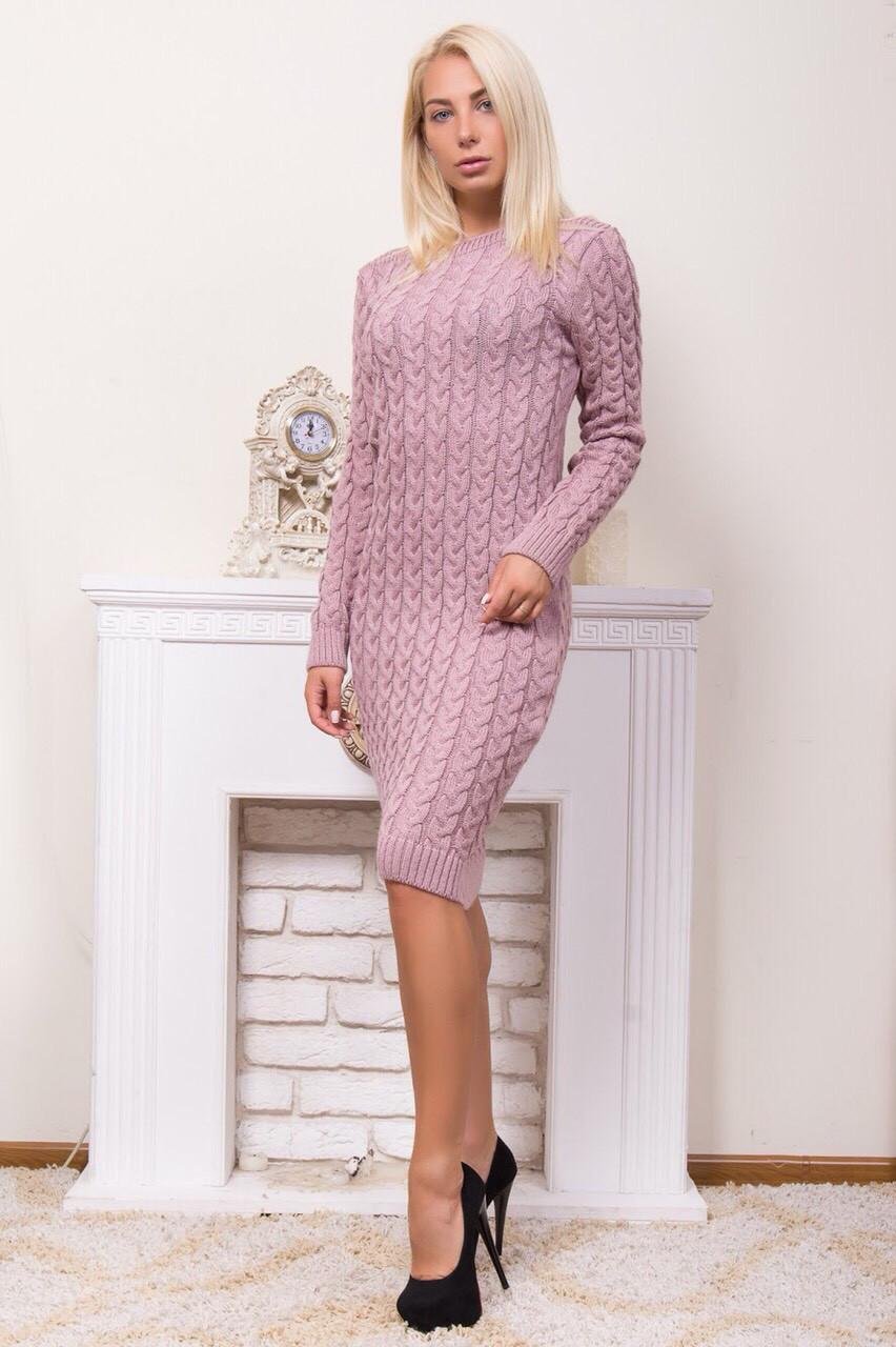 Теплое вязаное платье горловина лодочкой пудра