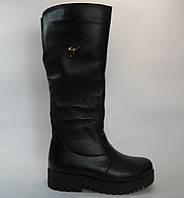 Женские кожаные зимние сапоги на платформе, фото 1