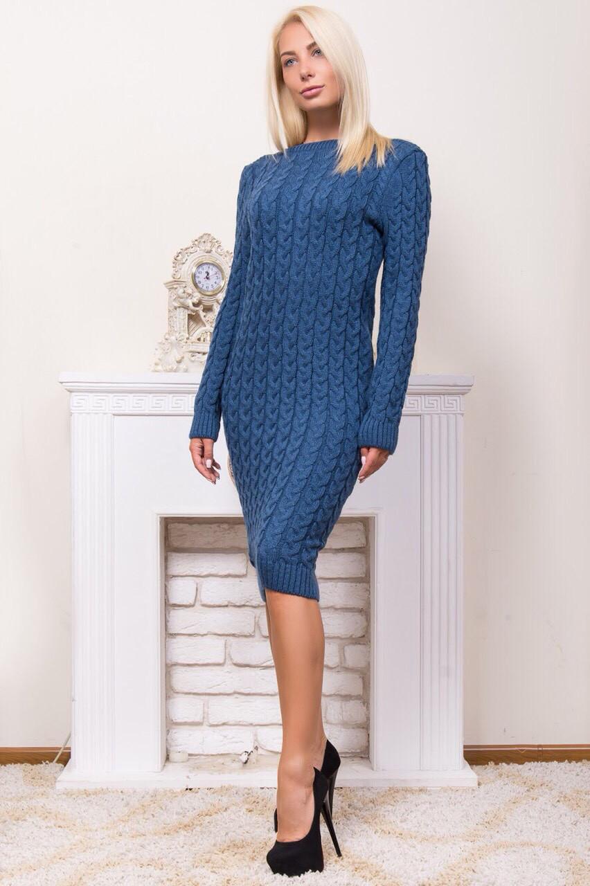 Теплое вязаное платье вырез лодочкой