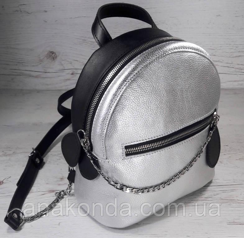 111к Натуральная кожа, Городской рюкзак  черный серебро Кожаный рюкзак Из натуральной кожи Рюкзак женский