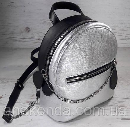 111к Натуральная кожа, Городской рюкзак  черный серебро Кожаный рюкзак Из натуральной кожи Рюкзак женский, фото 2