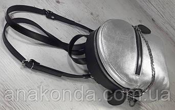 111к Натуральная кожа, Городской рюкзак  черный серебро Кожаный рюкзак Из натуральной кожи Рюкзак женский, фото 3