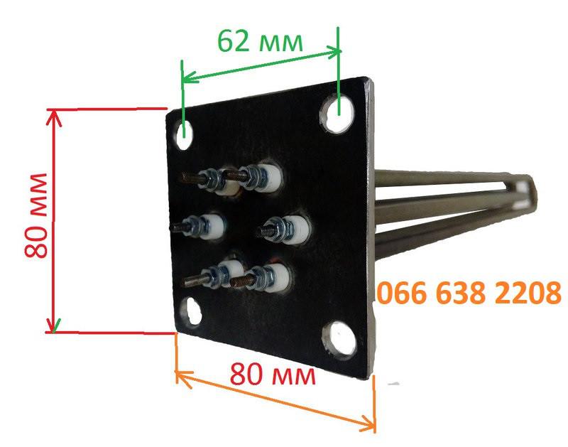 Блок тэн для электро котла РОСС с посадочным фланцем 80 на 80 мм мощностью 6,0 квт