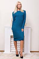 Теплое вязаное платье горловина лодочкой лазурный
