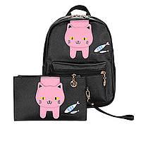 Рюкзак детский Кот с рыбками + клатч (черный), фото 1