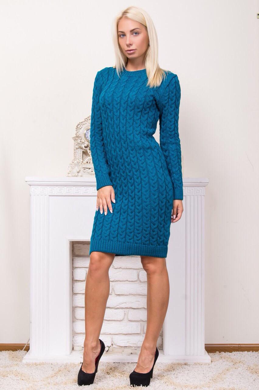 Теплое вязаное платье цвет морская волна