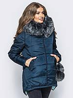Зимняя модная женская куртка с бубонами и мехом, на силиконе 90317