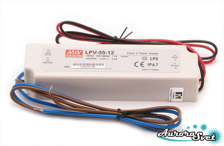 Led драйвер LPV-35-24  /  35-220AC-24S-148.0x40.0x30.0-LED DRIVER. Драйвер светодиода MEANWELL