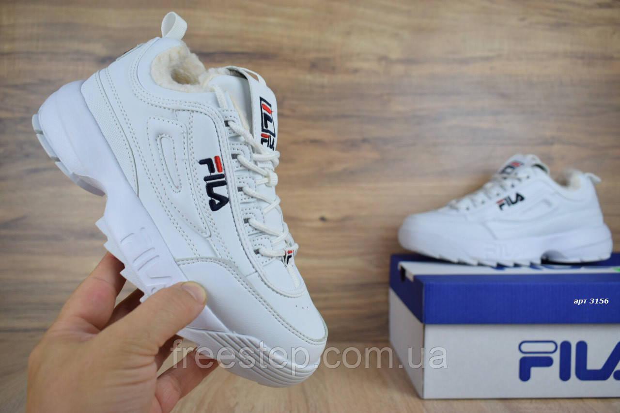18d4f0133c3d Зимние женские кроссовки в стиле Fila Disruptor 2, натур мех, кожа -  Интернет-