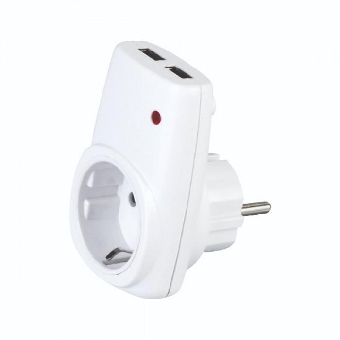 Розетка с заземлением Horoz+ USB вход