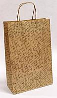 Бумажный подарочный крафт пакет УП 24*37*10см 10шт/уп (250шт/ящ) - Письмо по диагонали