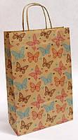 Бумажный подарочный крафт пакет УП 24*37*10см 10шт/уп (250шт/ящ) - Бабочки на буром
