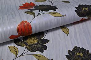 Обои на стену,  бумажные, цветы, красный, черный, серый,  Эстель 1382, 0,53*10м, фото 2