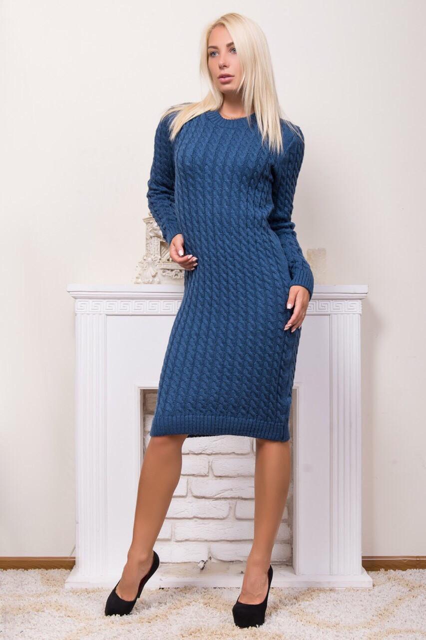 Теплое платье в технике вязка жгутом