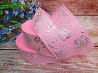 "Лента репсовая ""Узоры"", серебро на розовом фоне, 2,5 см."