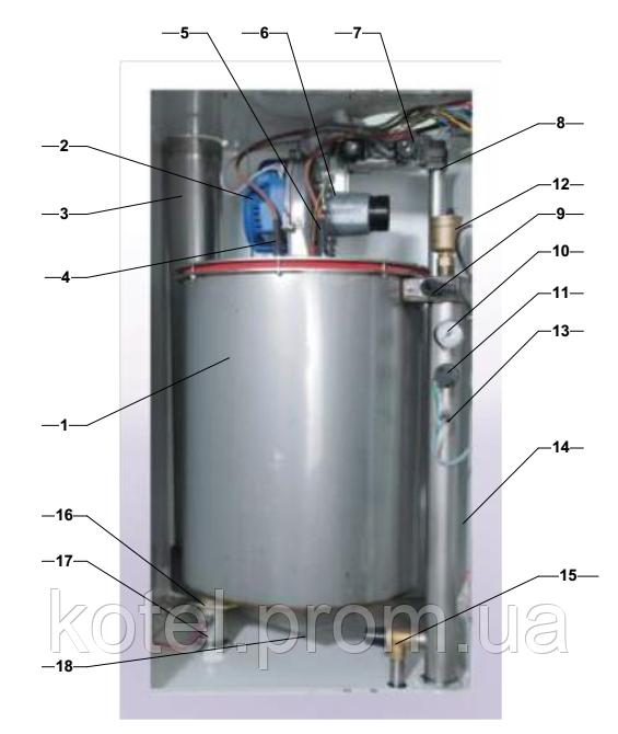 Схема конструкции газового настенного конденсационного котла Колви 165 Е