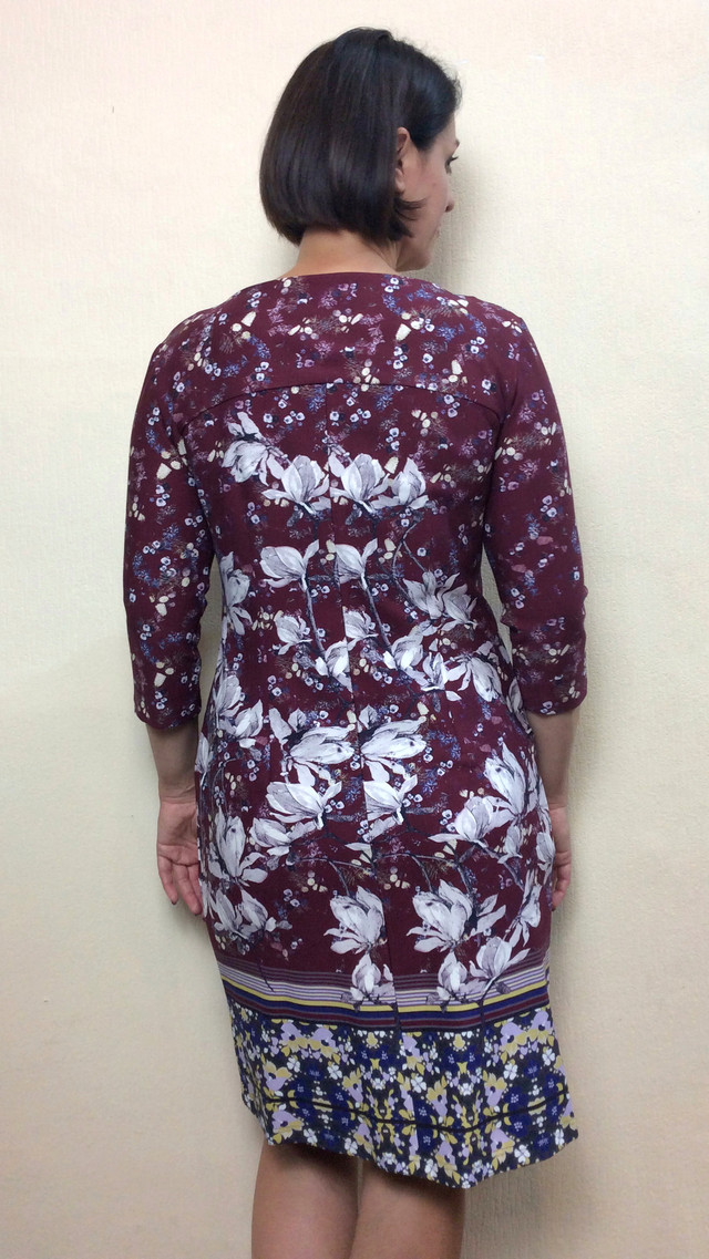 Платье с карманами из плотного трикотажа с купоном П57