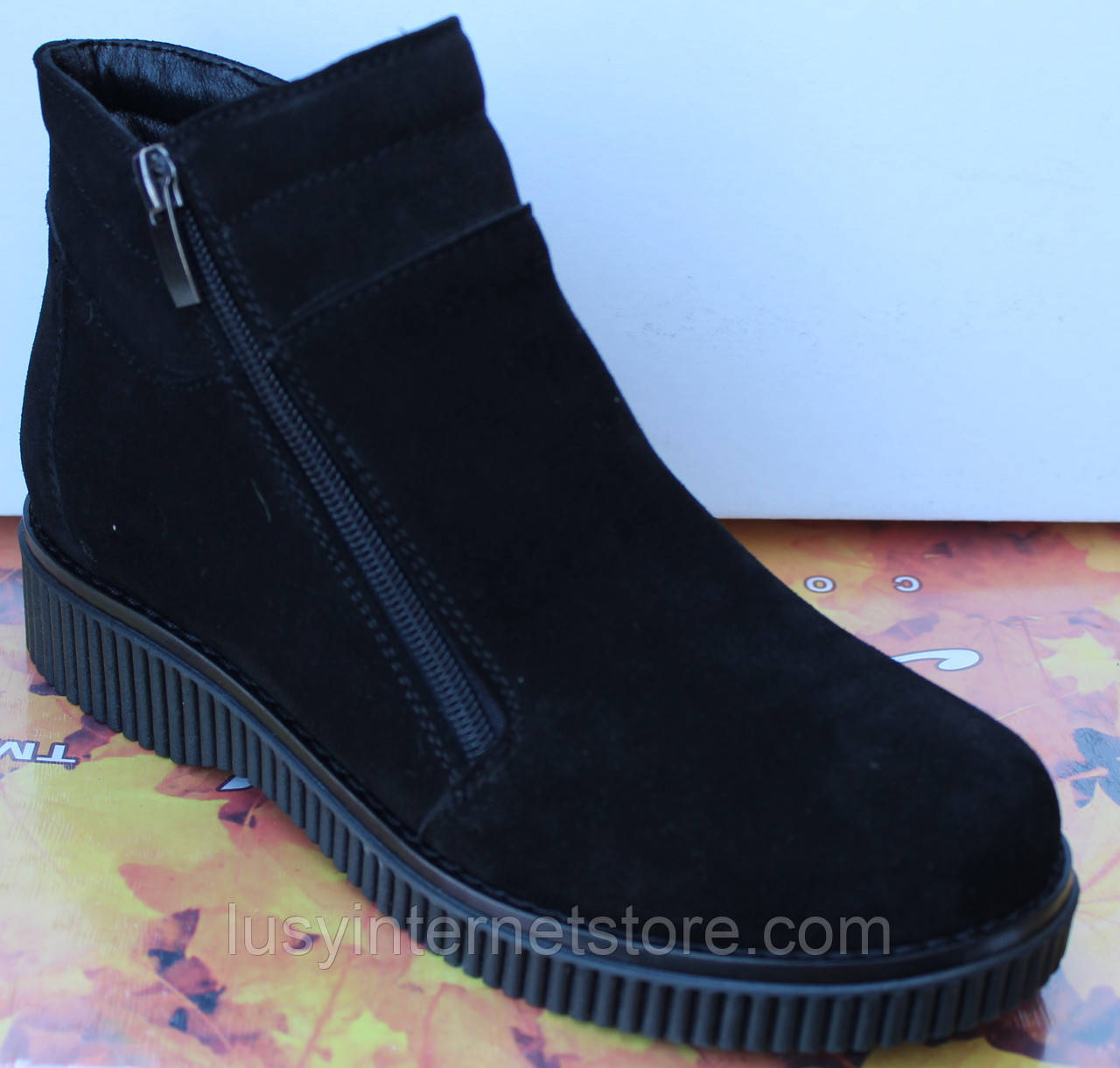 552e94a3 ... Ботинки женские зимние замшевые на низком ходу, зимняя женская обувь от  производителя модель МВ07- ...