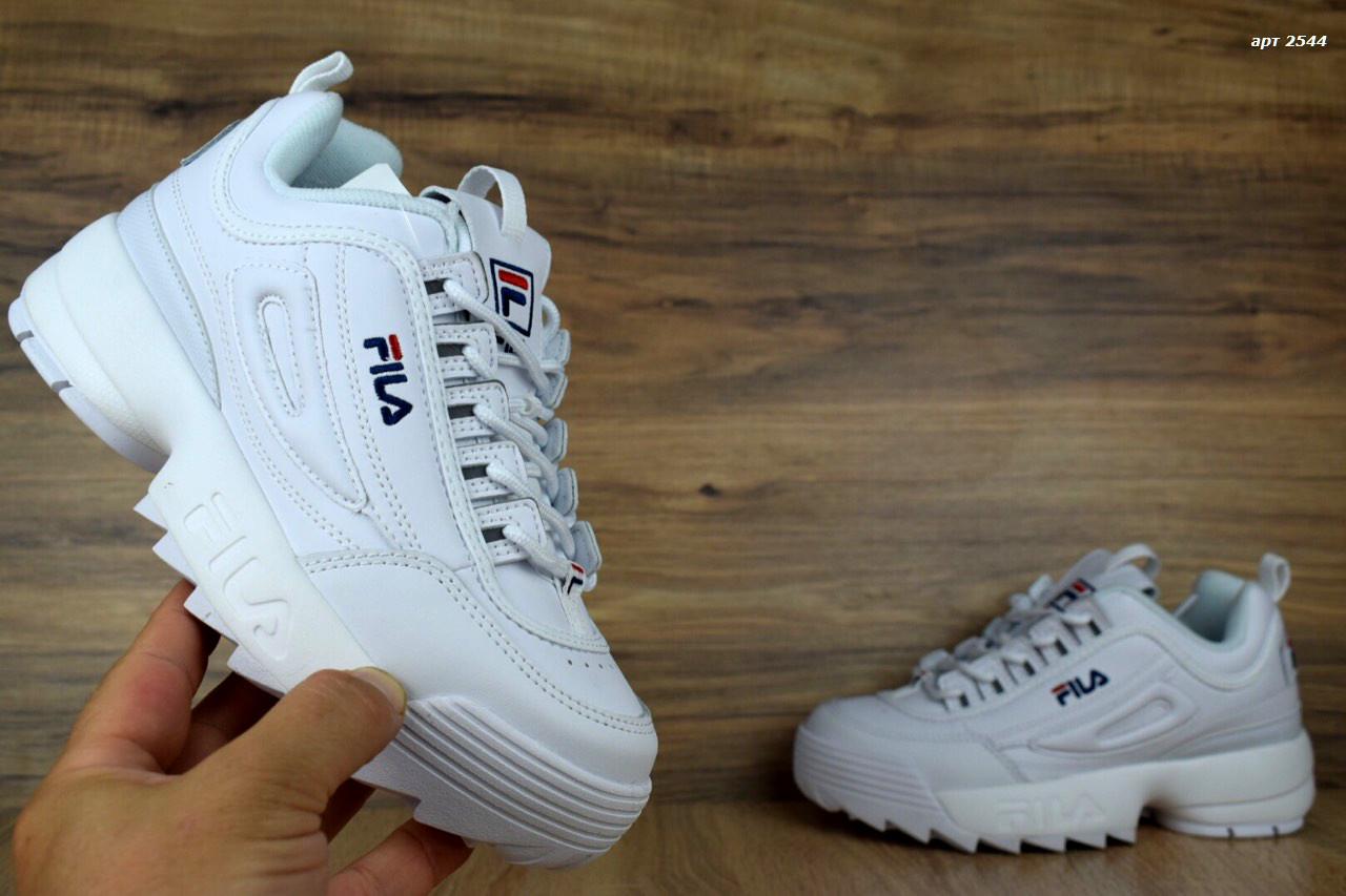 a71cd8dc2290 Мужские кроссовки Fila Disruptor белые кожаные реплика + живые фото ...
