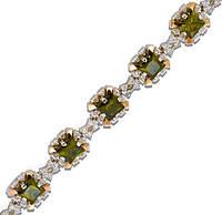Серебряный браслет женский с золотыми пластинами арт. 30005