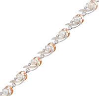 Серебряный браслет женский с золотыми пластинами арт. 30026