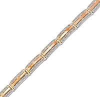 Серебряный браслет женский с золотыми пластинами арт. 30054