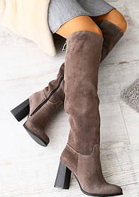 Сапоги-ботфорты женские на каблуке (деми), материал - натуральная замша, цвет - коричневый