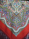 Сказочница 1763-5, павлопосадский платок шерстяной (двуниточная шерсть) с шелковой вязаной бахромой, фото 7