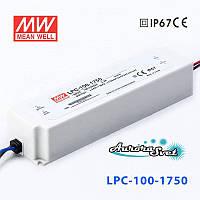 Led драйвер LPC-100-1750-LED DRIVER. Драйвер светодиода MEANWELL